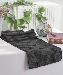 "12""x108"" Pinchwheel Taffeta Table Runner - Black 66239 (1pc)"