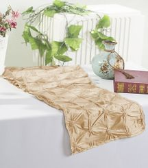 "12""x108"" Pinchwheel Taffeta Table Runner - Champagne 66228 (1pc)"