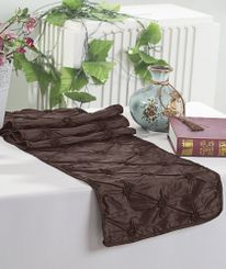 "12""x108"" Pinchwheel Taffeta Table Runner - Chocolate 66291 (1pc)"