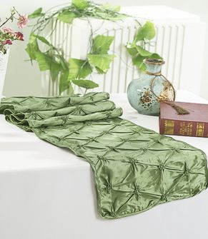 "12""x108"" Pinchwheel Taffeta Table Runner - Clover Green 66248 (1pc)"