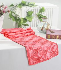 "12""x108"" Pinchwheel Taffeta Table Runner - Coral 66206 (1pc)"