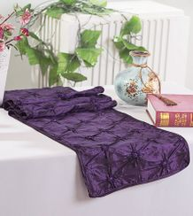 "12""x108"" Pinchwheel Taffeta Table Runner - Eggplant 66245 (1pc)"