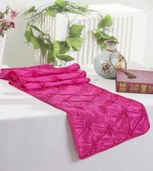 "12""x108"" Pinchwheel Taffeta Table Runner- Fuchsia 66209 (1pc)"
