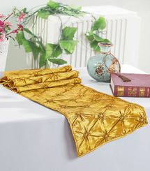 "12""x108"" Pinchwheel Taffeta Table Runner - Gold 66227(1pc)"