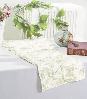 "12""x108"" Pinchwheel Taffeta Table Runner - Ivory 66202(1pc)"