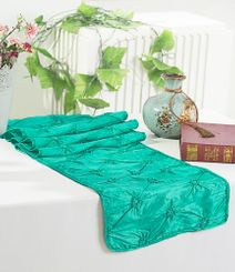 "12""x108"" Pinchwheel Taffeta Table Runner - Jade 66226(1pc)"