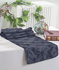 "12""x108"" Pinchwheel Taffeta Table Runner - Pewter / Charcoal 66260 (1pc)"