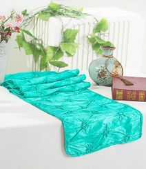 "12""x108"" Pinchwheel Taffeta Table Runner - Pool Blue 66278 (1pc)"