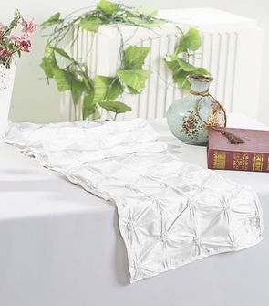 "12""x108"" Pinchwheel Taffeta Table Runner - White 66201(1pc)"