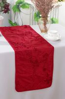 "12""x108"" Ribbon Taffeta Table Runner - Apple Red 65208 (1pc)"