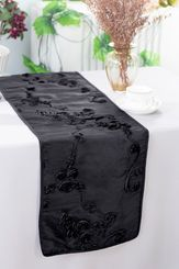 "12""x108"" Ribbon Taffeta Table Runner - Black 65239(1pc)"