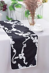 "12""x108"" Ribbon Taffeta Table Runner - Black/White 65279 (1pc)"