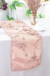 "12""x108"" Ribbon Taffeta Table Runner - Blush Pink 65215(1pc)"
