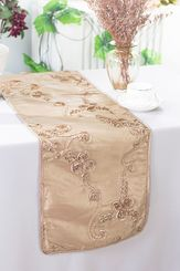 "12""x108"" Ribbon Taffeta Table Runner - Champagne 65228(1pc)"