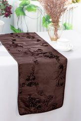 "12""x108"" Ribbon Taffeta Table Runner - Chocolate 65291(1pc)"