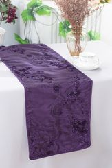 "12""x108"" Ribbon Taffeta Table Runner - Eggplant 65245(1pc)"