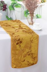 "12""x108"" Ribbon Taffeta Table Runner - Gold 65227(1pc)"