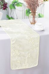 "12""x108"" Ribbon Taffeta Table Runner - Ivory 65202(1pc)"