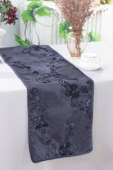 "12""x108"" Ribbon Taffeta Table Runner - Pewter / Charcoal 65260 (1pc)"
