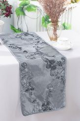 "12""x108"" Ribbon Taffeta Table Runner - Silver 65240(1pc)"