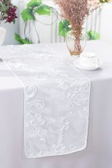 "12""x108"" Ribbon Taffeta Table Runner - White 65201(1pc)"