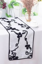 "12""x108"" Ribbon Taffeta Table Runner - White/Black 65269(1pc)"