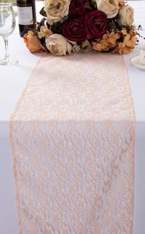 """12""""x108"""" Rose Raschel Lace Table Runners - Blush Pink 90015 (1pc/pk)"""