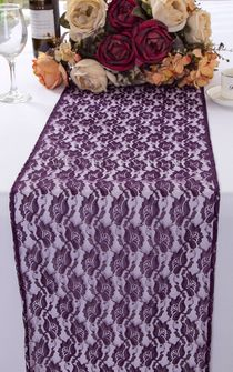 "12""x108"" Rose Raschel Lace Table Runners - Eggplant 90045 (1pc/pk)"