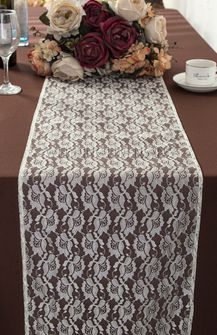 """12""""x108"""" Rose Raschel Lace Table Runners - Ivory 90002 (1pc/pk)"""