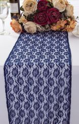 """12""""x108"""" Rose Raschel Lace Table Runners - Navy Blue 90023 (1pc/pk)"""