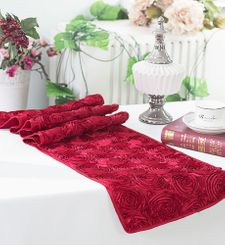 "12""x108"" Satin Rosette Table Runner - Apple Red 56108(1pc/pk)"