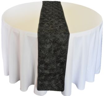 "12""x108"" Satin Rosette Table Runner - Black 56139(1pc/pk)"