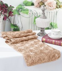 "12""x108"" Satin Rosette Table Runner - Champagne 56128(1pc/pk)"