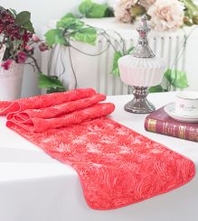 "12""x108"" Satin Rosette Table Runner - Coral (1pc/pk)"