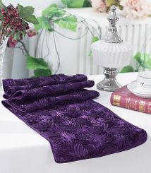 "12""x108"" Satin Rosette Table Runner - Eggplant (1pc/pk)"