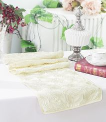 "12""x108"" Satin Rosette Table Runner - Ivory 56102(1pc/pk)"
