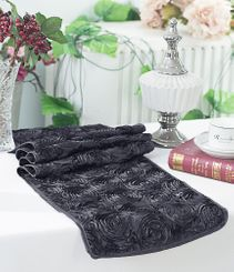 "12""x108"" Satin Rosette Table Runner - Pewter (1pc/pk)"