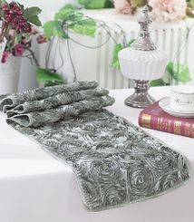 "12""x108"" Satin Rosette Table Runner - Silver 56140(1pc/pk)"