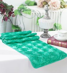 "12""x108"" Satin Rosette Table Runner - Tiff Blue / Aqua Blue 56118(1pc/pk)"