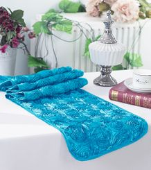 "12""x108"" Satin Rosette Table Runner - Turquoise (1pc/pk)"