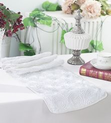 "12""x108"" Satin Rosette Table Runner - White (1pc/pk)"