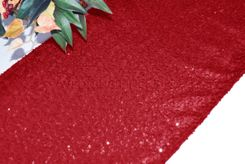 "12""x108"" Sequin Taffeta Table Runner - Apple Red 01008 (1pc)"