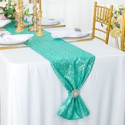 "12""x108"" Sequin Taffeta Table Runner - Tiff Blue / Aqua Blue 01018 (1pc)"
