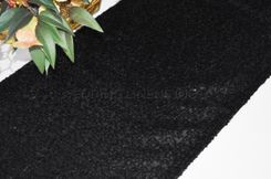 "12""x108"" Sequin Taffeta Table Runner - Black 01039 (1pc)"