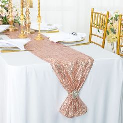 "12""x108"" Sequin Taffeta Table Runner - Blush Pink / Rose Gold 01015 (1pc)"
