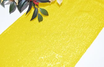 "12""x108"" Sequin Taffeta Table Runner - Canary Yellow 01016 (1pc)"