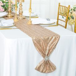 "12""x108"" Sequin Taffeta Table Runner - Champagne 01028 (1pc)"
