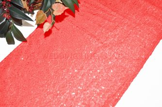 "12""x108"" Sequin Taffeta Table Runner - (NEW SHADE)Coral 01006 (1pc)"