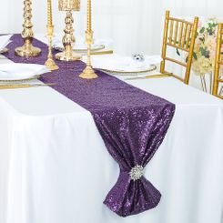 "12""x108"" Sequin Taffeta Table Runner - Eggplant 01045 (1pc)"