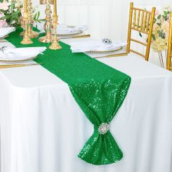 "12""x108"" Sequin Taffeta Table Runner - Emerald Green 01038 (1pc)"